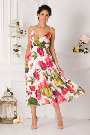 Rochie de zi cu imprimeuri florale fara maneci