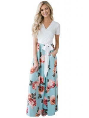 Rochie de zi de vara lunga cu maneci scurte si imprimeu floral