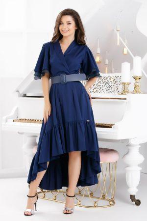 Rochie de zi eleganta asimetrica si curea la talie