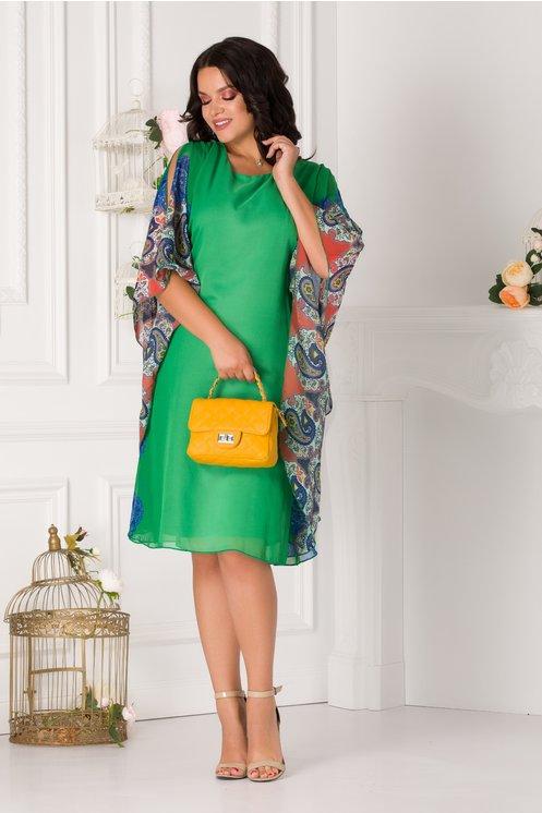 Rochie de zi eleganta din voal cu maneci colorate