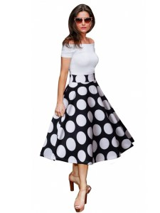 Rochie de zi eleganta stil retro cu decolteu bardot