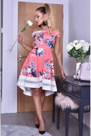 Rochie de zi si de vara midi usor in clos cu imprimeu floral