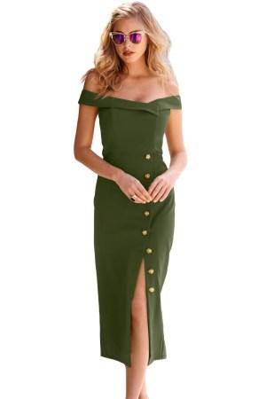 Rochie de zi vintage cu nasturi aurii si decolteu bardot