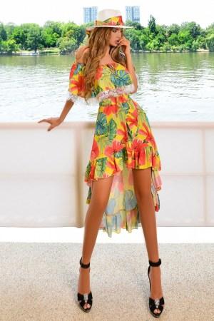 Rochie eleganta de ocazie asimetrica pe umeri cu imprimeu floral