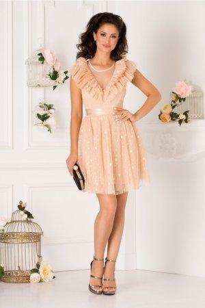 Rochie eleganta de ocazie si de seara scurta cu tulle transparent