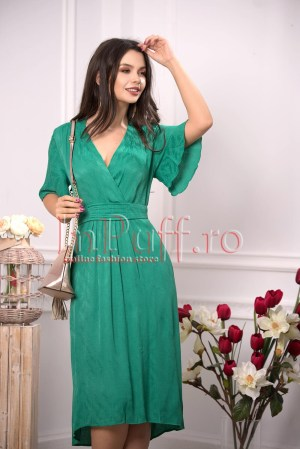 Rochie eleganta de vara verde din voal plisat