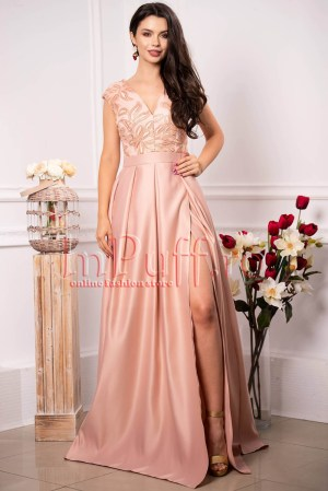 Rochie lunga de ocazie roz prafuit cu broderie florala si paiete