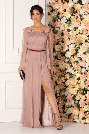 Rochie lunga roz prafuit de ocazie cu flori 3d la decolteu