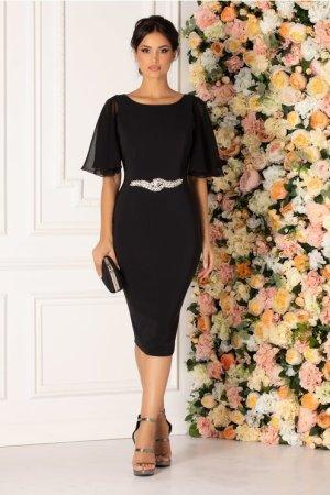 Rochie neagra de ocazie cu accesoriu delicat in talie