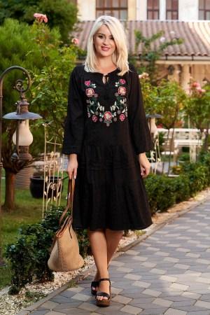 Rochie neagra de zi midi din bumbac cu croi larg broderie florala