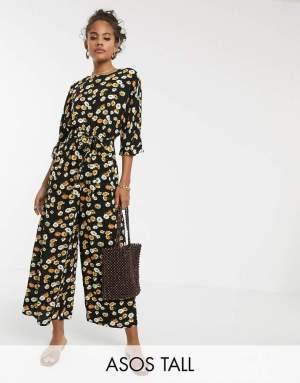 Salopeta dama eleganta cu imprimeu floral si pantaloni evazati Asos
