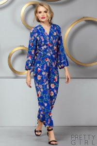 Salopeta eleganta dama albastra cu imprimeu floral