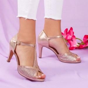 Sandale dama piele ecologica champagne cu toc