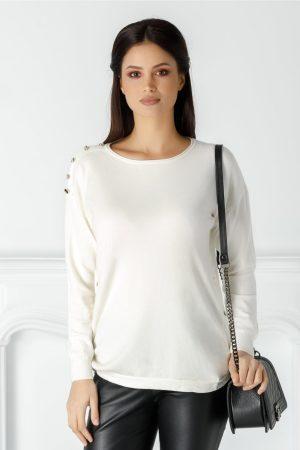 Bluza casual alba cu croiul lejer si decolteu rotund cu nasturi la umeri