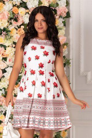Rochia alba scurta cu imprimeu floral si motive traditionale
