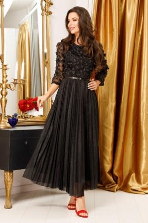 Rochie Eleganta Neagra din Tulle Decoratat cu Floricele 3D