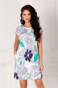 Rochie alba de vara cu imprimeu floral gri si decolteu rotund