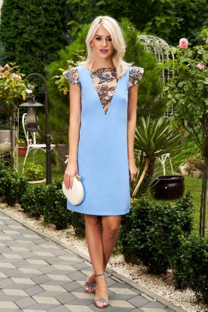 Rochie albastra scurta eleganta din stofa cu un croi drept