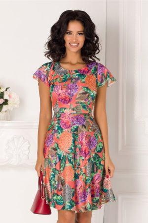 Rochie corai de zi cu imprimeu multicolor