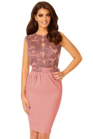 Rochie de ocazie midi in tonuri roz pudra