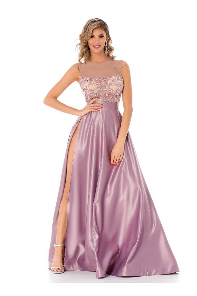Rochie de seara lila din tafta lunga cu broderie si margelute la bust