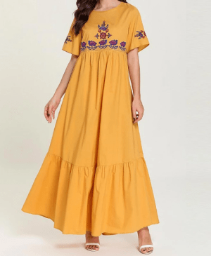 Rochie de zi lunga de vara cu broderie din material plisat