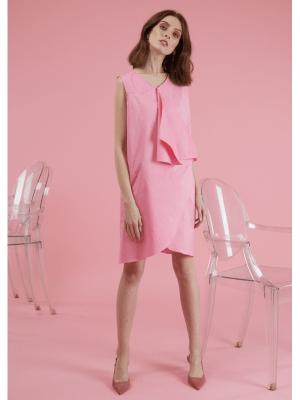Rochie de zi sau de ocazie scurta roz din bumbac Julia