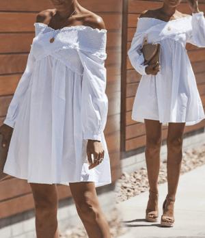 Rochie de zi scurta de vara cu striatii si maneci lungi