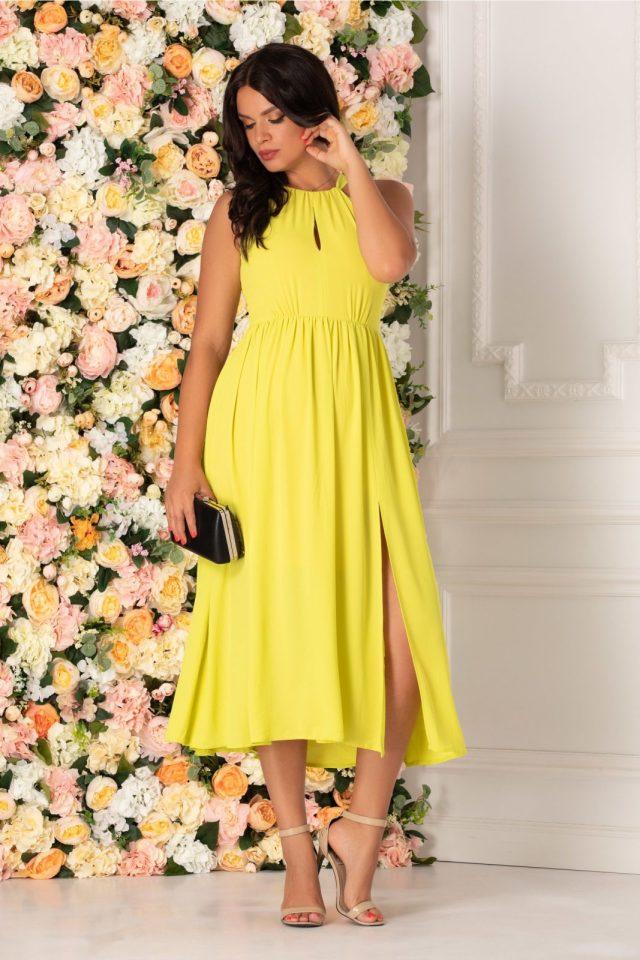 Rochie galben lime eleganta cu crepeu maxi decupaj la bust si la spate