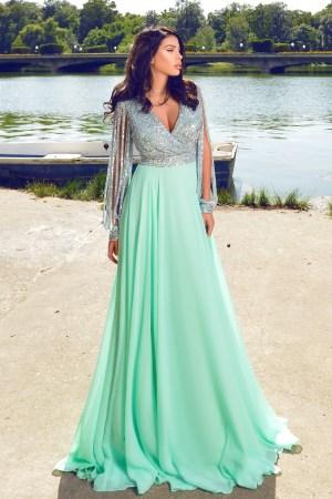 Rochie lunga eleganta cu bust paiete