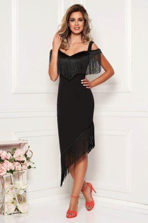 Rochie neagra eleganta de ocazie din stofa cu bretele si franjuri