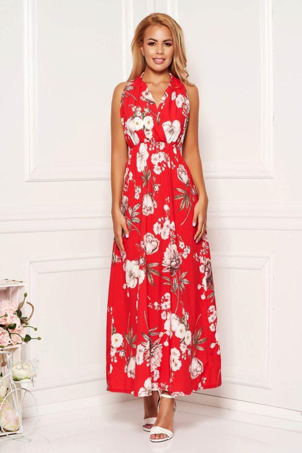 Rochie rosie de zi in clos fara maneci cu spatele gol si imprimeu floral