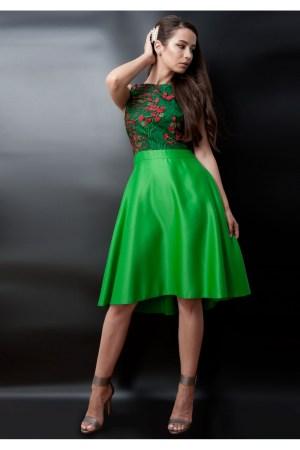 Rochie verde din tafta cu bust din dantela