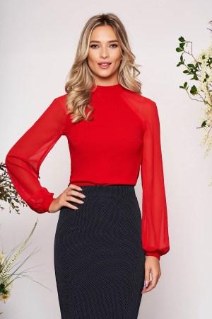 Bluza dama rosie eleganta din material elastic cu croi larg cu maneci lungi