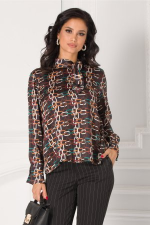 Bluza neagra cu imprimeuri geometrice colorate