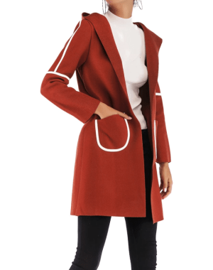 Palton dama cu gluga in culori contrastante