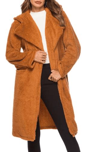 Palton dama cu gluga si rever din blana ecologica