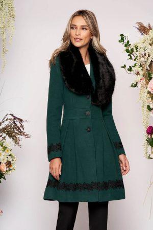 Palton dama verde-inchis elegant lung in clos cu guler din blana ecologica
