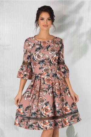 Rochie cappuccino cu imprimeu floral si insertii din dantela