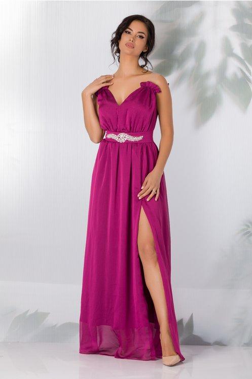 Rochie de ocazie eleganta lunga magenta cu aplicatie in talie