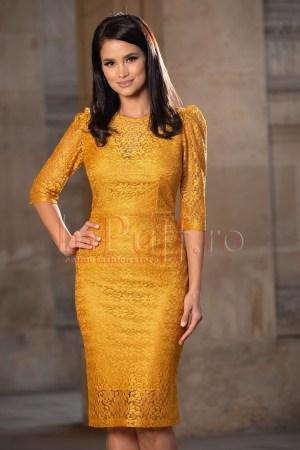 Rochie de ocazie eleganta midi galben mustar din broderie