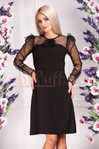 Rochie de ocazie eleganta midi neagra cu maneca din tul