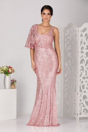 Rochie de ocazie lunga roz din paiete