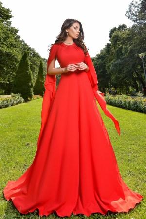 Rochie de ocazie rosie lunga eleganta cu esarfe