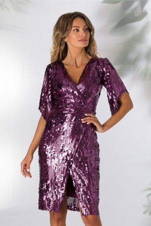 Rochie de seara eleganta din paiete ametist
