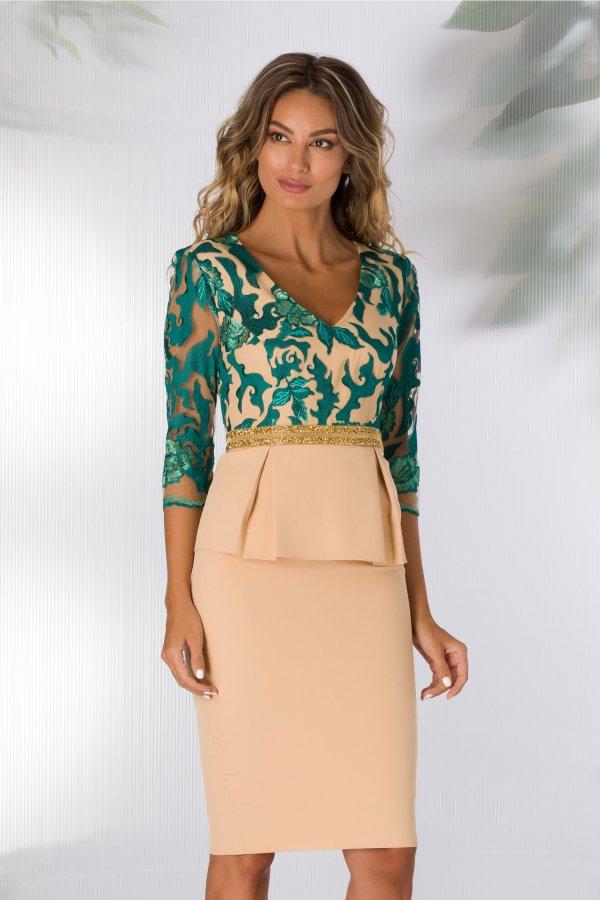 Rochie de seara nude beige cu broderie florala verde