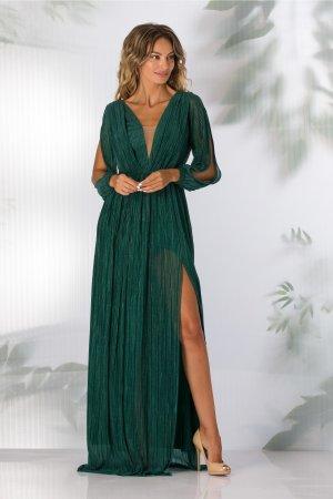 Rochie de seara verde pin lunga cu glitter stralucitor