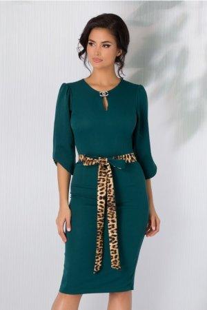 Rochie eleganta conica verde cu cordon si detalii animal print