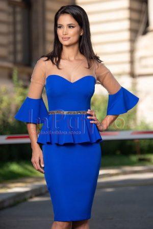 Rochie eleganta de ocazie albastra cu strasuri si peplum in talie
