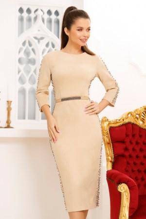 Rochie eleganta de ocazie din imitatie de piele crem cu maneci lungi